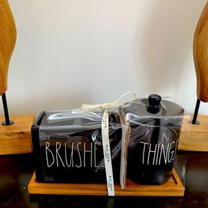 Rae Dunn THINGS & BRUSHES on cute wooden tray
